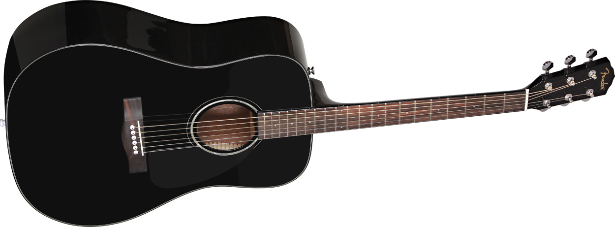 fender cd60 black acoustic guitar with hardshell case pro music. Black Bedroom Furniture Sets. Home Design Ideas