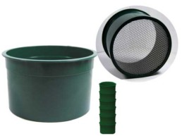 "• 10 Holes per Sq. Inch • Diameter: 6"" • 304 Stainless Steel Wire Mesh • Green Color Plastic • Stackable Design • Bulk"