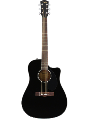 Fender CD-60SCE Black Solid Top Acoustic-Electric Guitar