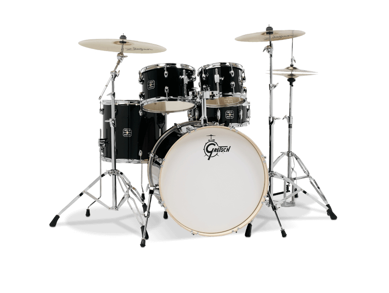 gretsch ge4e825zb energy 5 piece black drum set with hardware and zildjian cymbals pro music. Black Bedroom Furniture Sets. Home Design Ideas