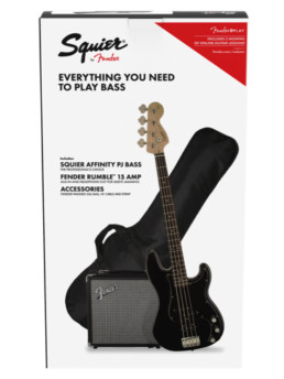 Fender Squier Affinity PJ Bass Pack Black With Rumble 15 With Gig Bag